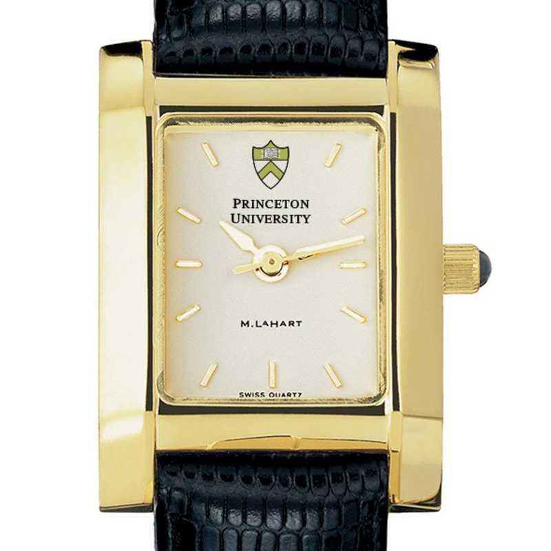 615789934370: Princeton Women's Gold Quad Watch W/ Leather Strap