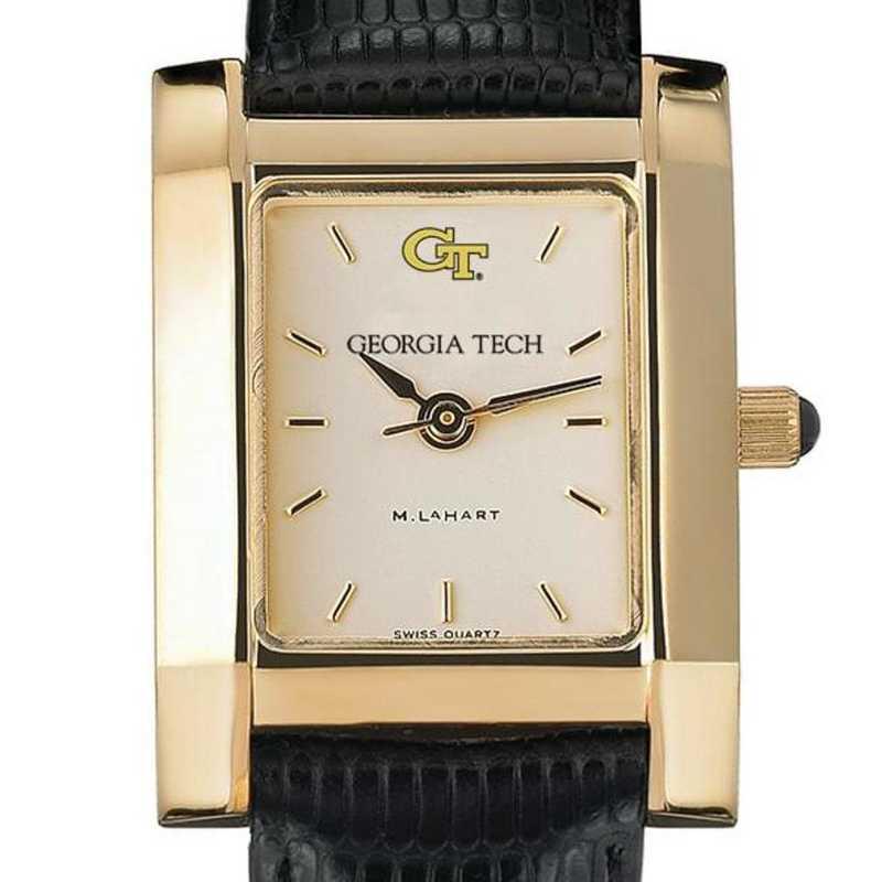 615789949688: Georgia Tech Women's Gold Quad Watch W/ Leather Strap