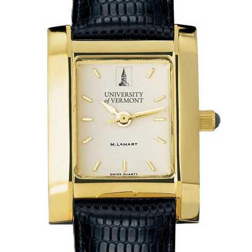 615789950127: UVM Women's Gold Quad Watch W/ Leather Strap