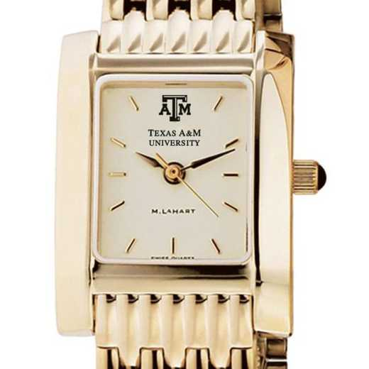 615789084228: Texas A&M Women's Gold Quad Watch with Bracelet