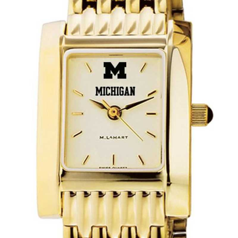 615789200659: Michigan Women's Gold Quad Watch with Bracelet