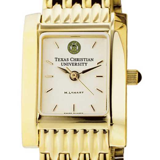 615789721536: TCU Women's Gold Quad Watch with Bracelet