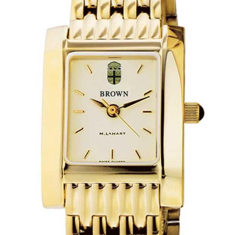 615789793588: Brown Women's Gold Quad Watch with Bracelet