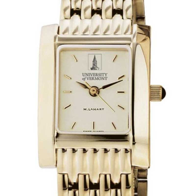 615789907923: UVM Women's Gold Quad Watch with Bracelet