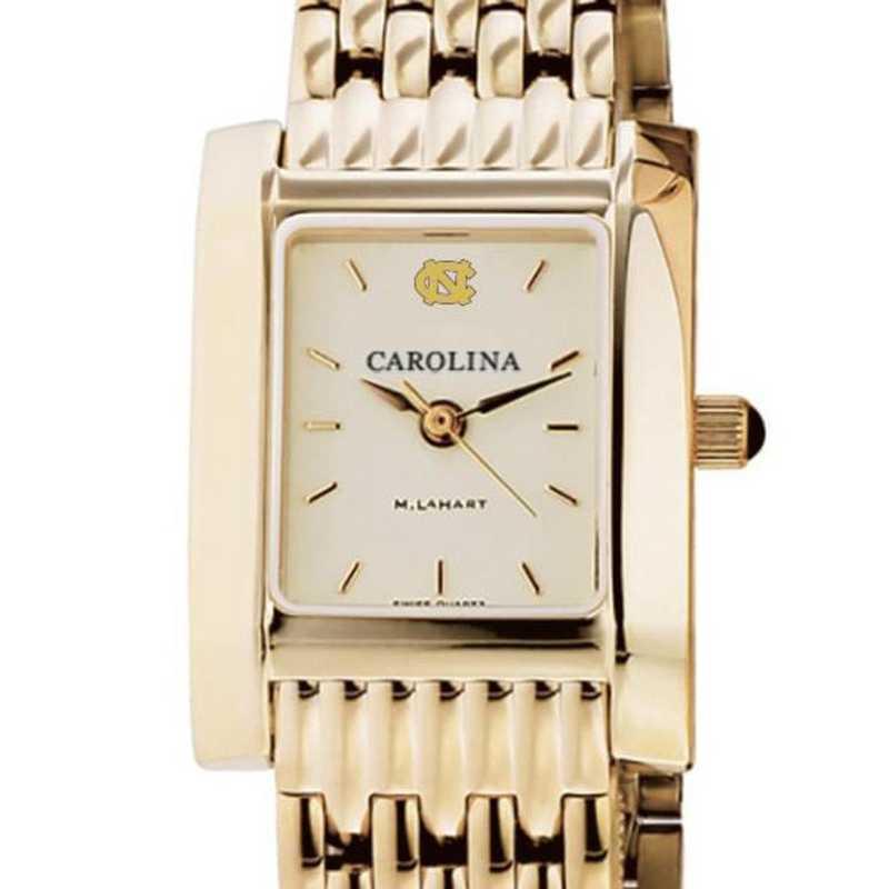 615789994848: UNC Women's Gold Quad Watch with Bracelet