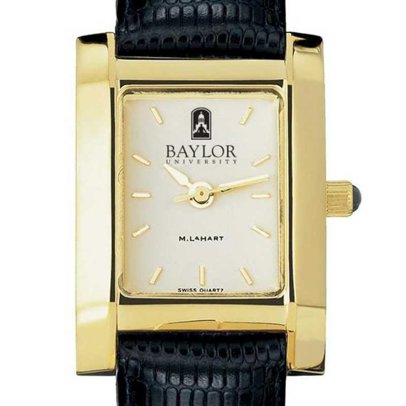 615789049036: Baylor Women's Gold Quad w/ Leather Strap