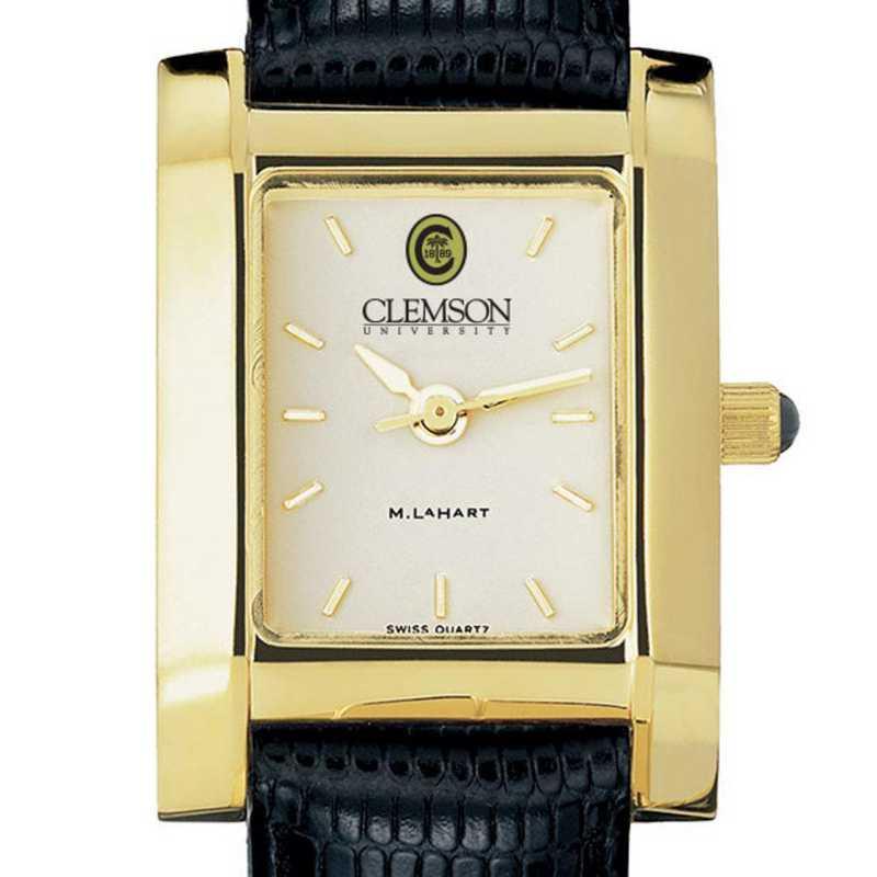 615789068273: Clemson Women's Gold Quad Watch W/ Leather Strap