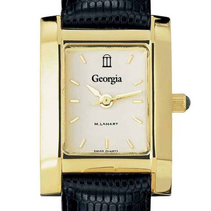 615789229735: Georgia Women's Gold Quad w/ Leather Strap