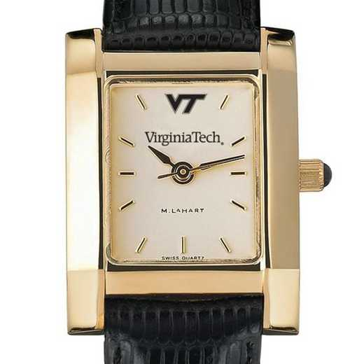 615789283836: Virginia Tech Women's Gold Quad Watch W/ Leather Strap