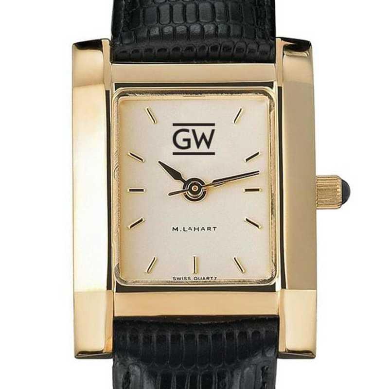 615789343332: George Washington Women's Gold Quad w/ Leather Strap