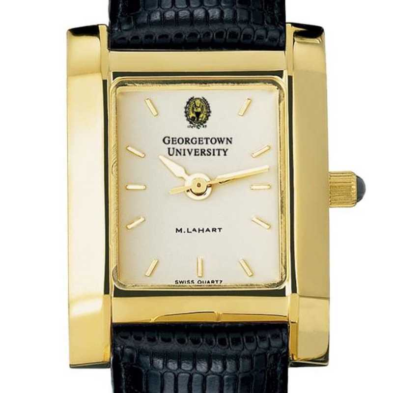 615789407034: Georgetown Women's Gold Quad Watch W/ Leather Strap