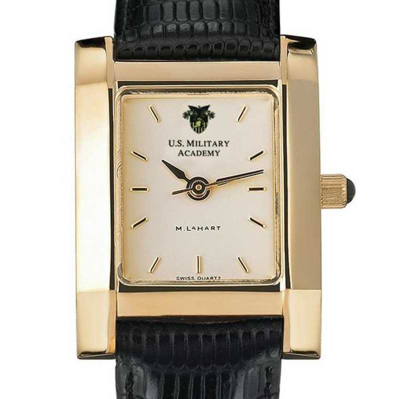 615789427407: West Point Women's Gold Quad w/ Leather Strap