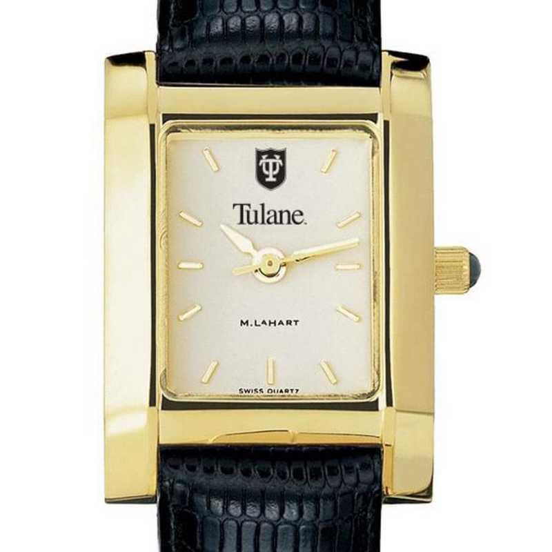 615789754404: Tulane Women's Gold Quad w/ Leather Strap