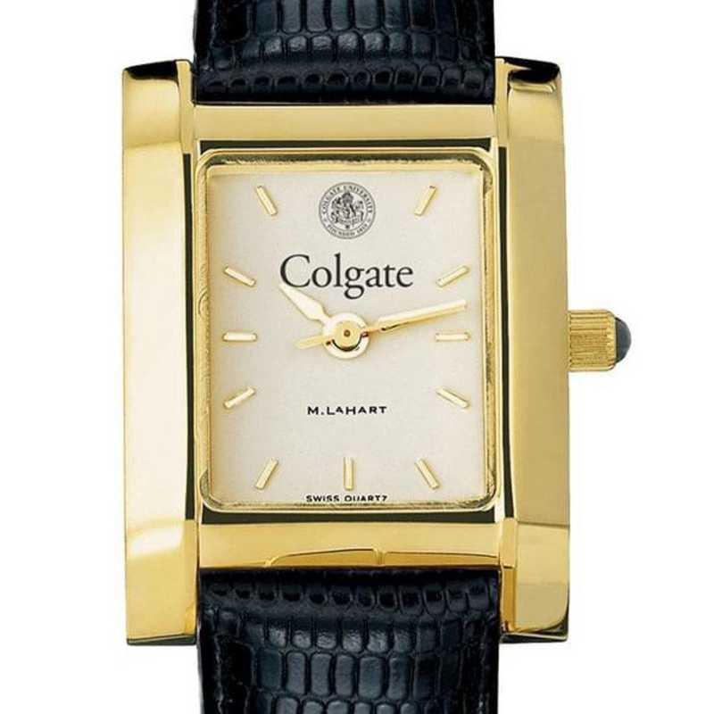 615789803416: Colgate Women's Gold Quad w/ Leather Strap