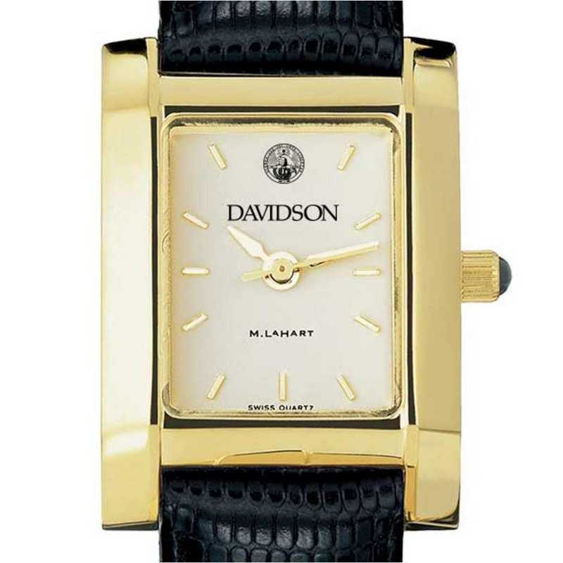 615789993339: Davidson College Women's Gold Quad w/ Leather Strap