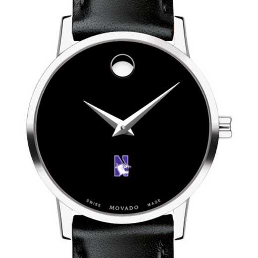 615789079040: Northwestern U Women's Movado Museum with Leather Strap