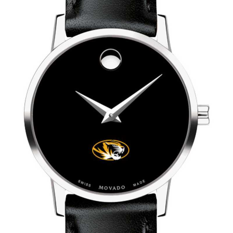 615789107019: U of Missouri Women's Movado Museum with Leather Strap