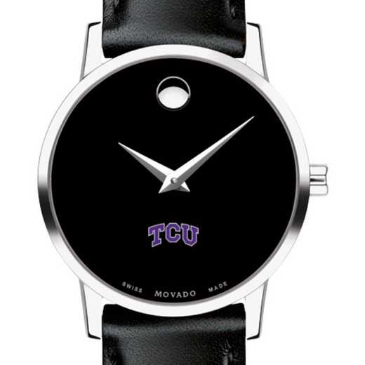 615789109556: Texas Christian Univer Women's Movado Museum w Leather Strap