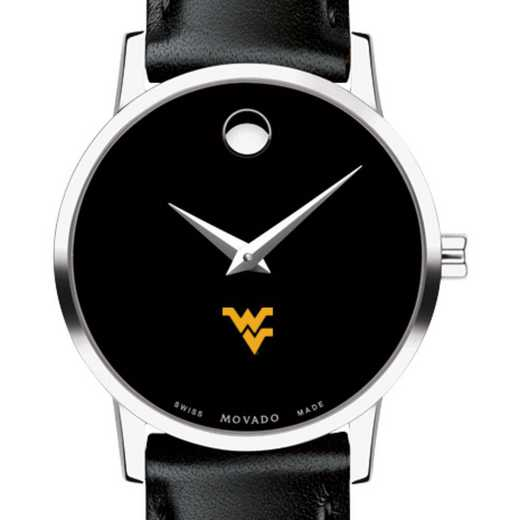 615789126751: West Virginia Univ Women's Movado Museum with Leather Strap