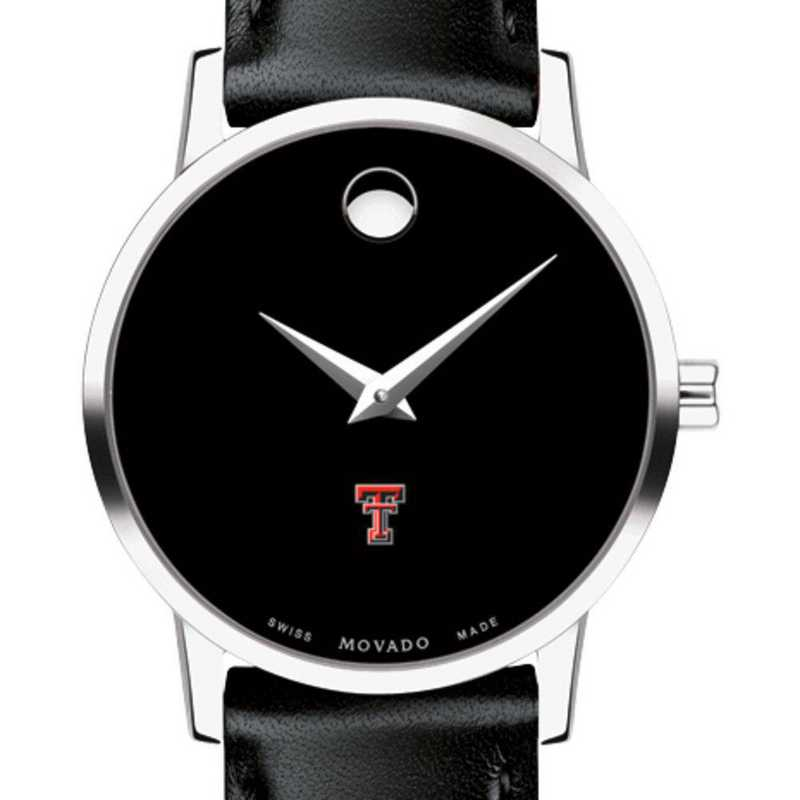 615789126966: Texas Tech Women's Movado Museum with Leather Strap