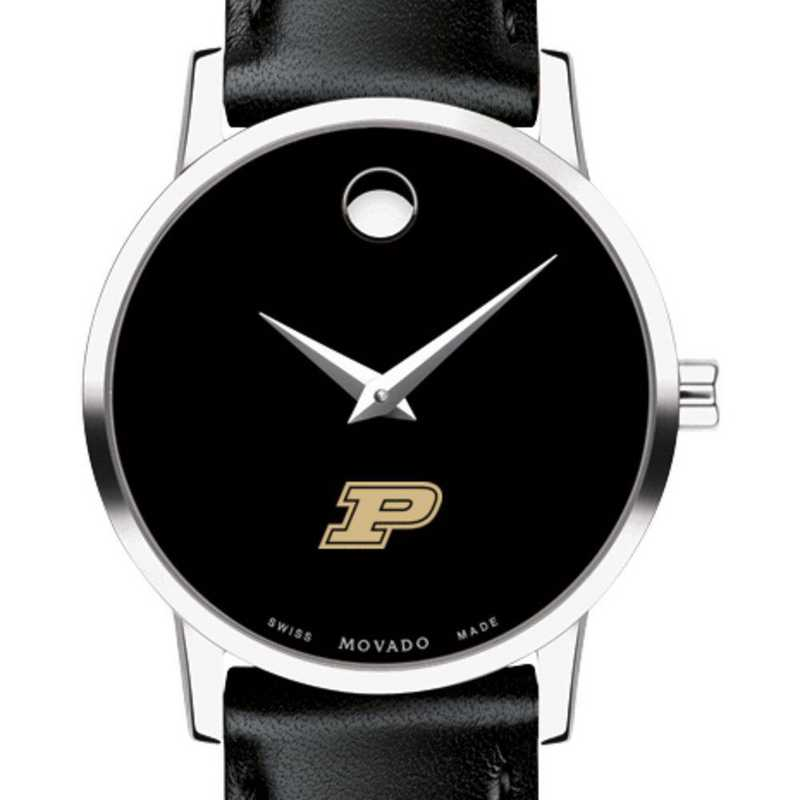 615789152491: Purdue Univ Women's Movado Museum with Leather Strap