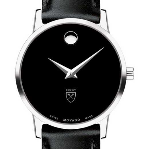 615789164425: Emory Univ Women's Movado Museum w/ Leather Strap