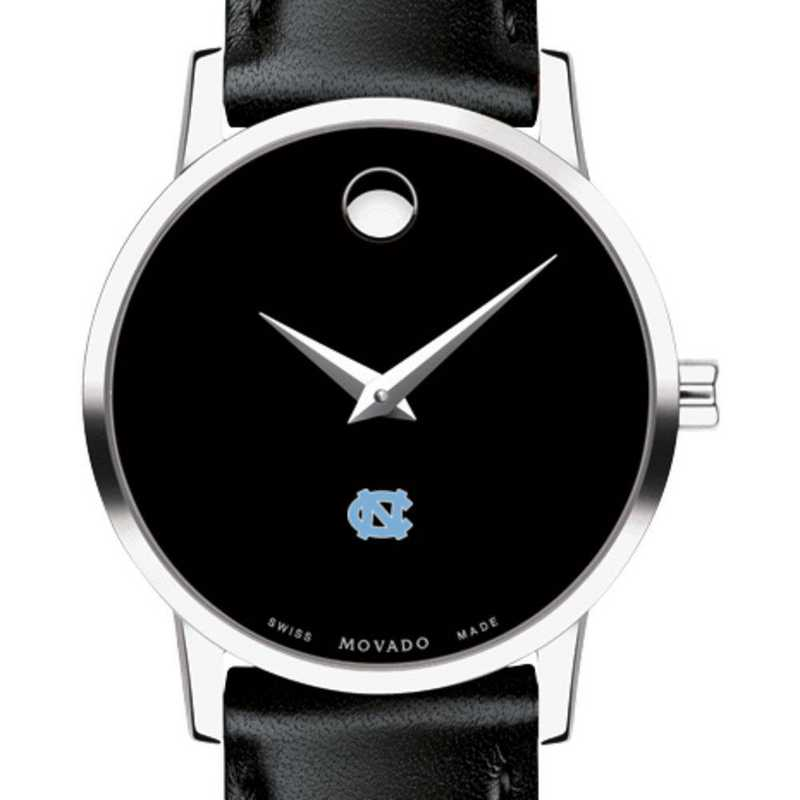 615789170532: U of North Carolina Women's Movado Museum with Leather Strap