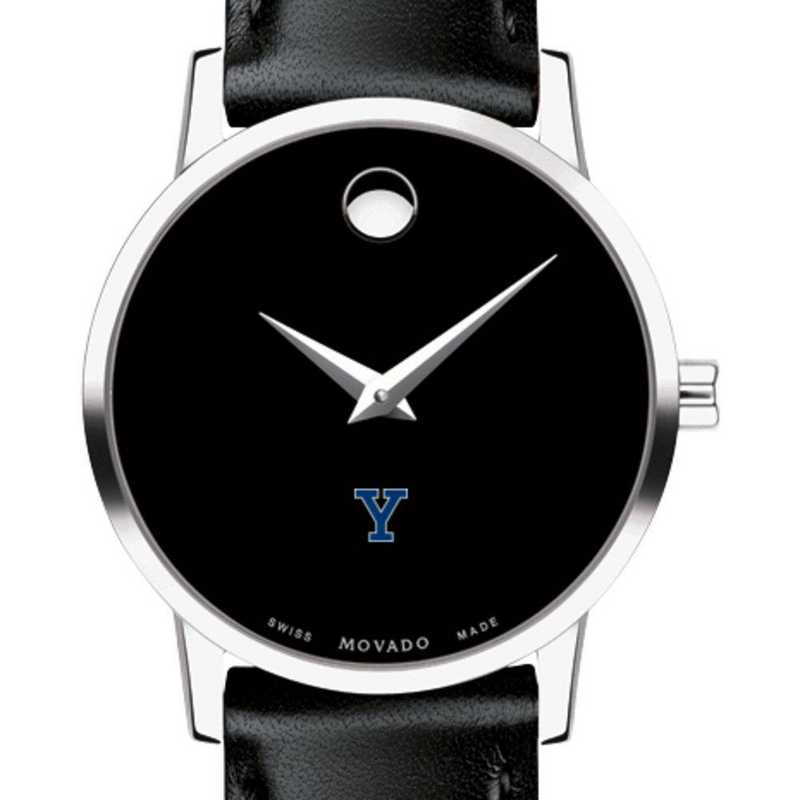 615789179078: Yale Univ Women's Movado Museum with Leather Strap