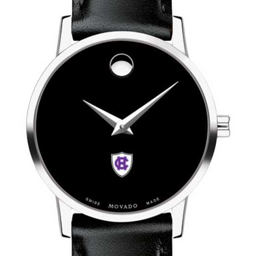 615789197447: Holy Cross Women's Movado Museum w/ Leather Strap