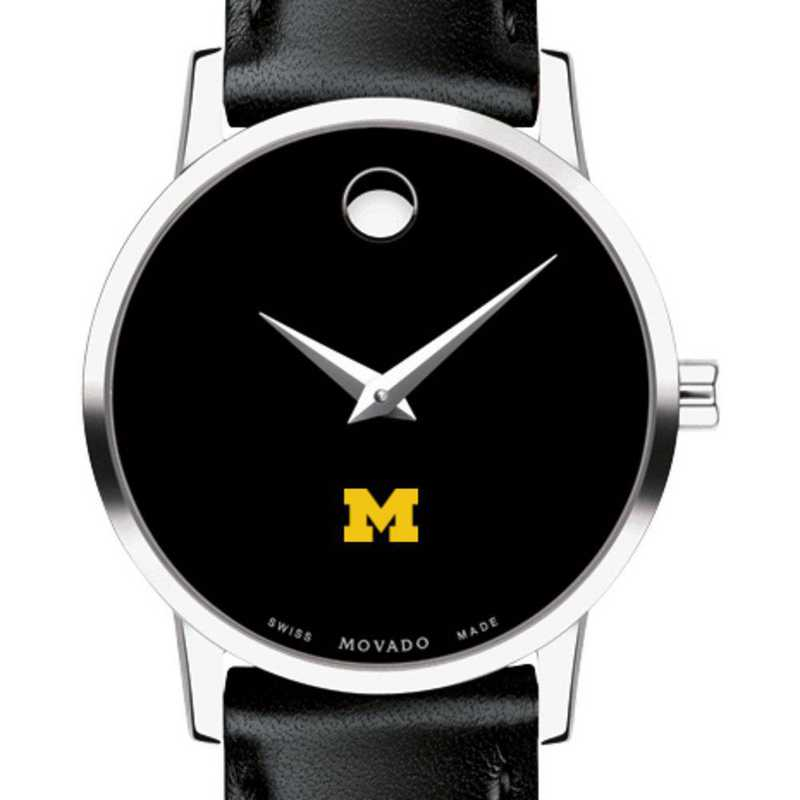 615789259756: Unive of Michigan Women's Movado Museum with Leather Strap