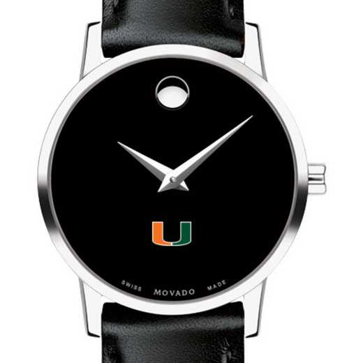 615789267126: University of Miami Women's Movado Museum with Leather Strap
