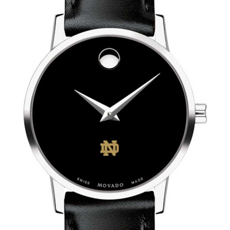 615789356165: Univ of Notre Dame Women's Movado Museum with Leather Strap