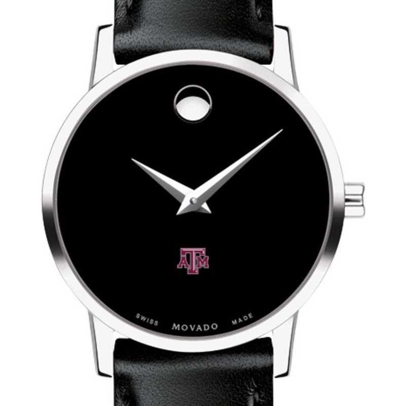 615789359821: Texas A&M Unive Women's Movado Museum with Leather Strap