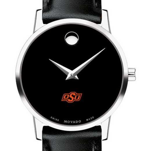 615789361701: Oklahoma St Univ Women's Movado Museum with Leather Strap
