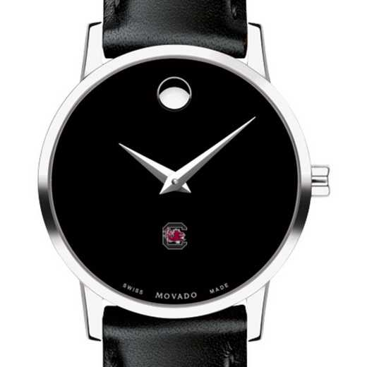615789391111: Univ of South Carolina Women's Movado Museum w/Lther Strap