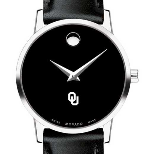 615789413745: Univ of Oklahoma Women's Movado Museum w Leather Strap