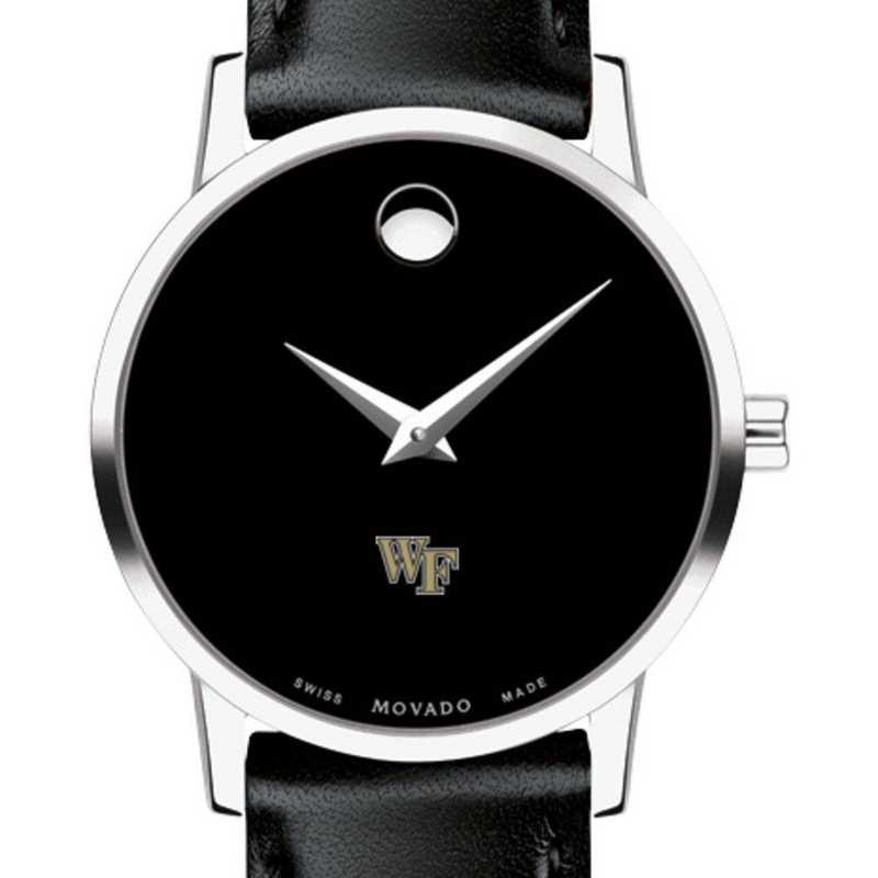 615789458647: Wake Forest Unive Women's Movado Museum with Leather Strap