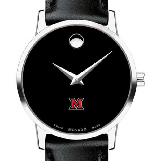 615789479819: Miami University Women's Movado Museum with Leather Strap