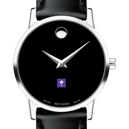 615789533450: New York U Women's Movado Museum with Leather Strap