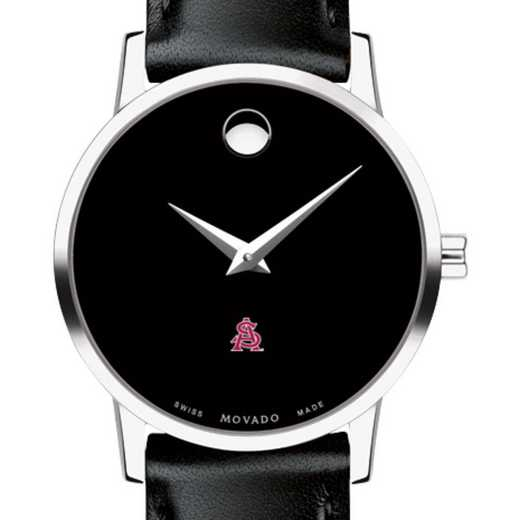 615789559924: Arizona State Women's Movado Museum w/ Leather Strap