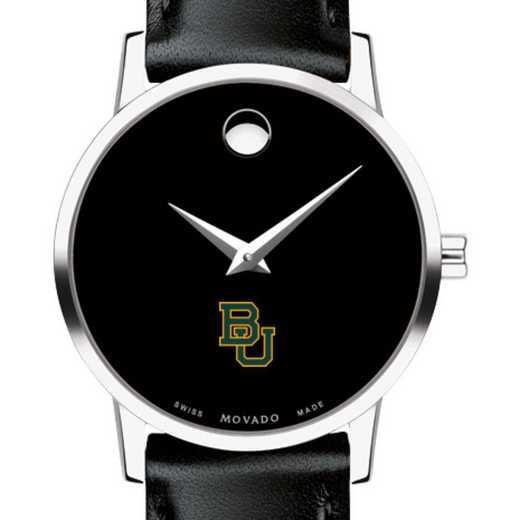 615789605560: Baylor Univ Women's Movado Museum w/ Leather Strap