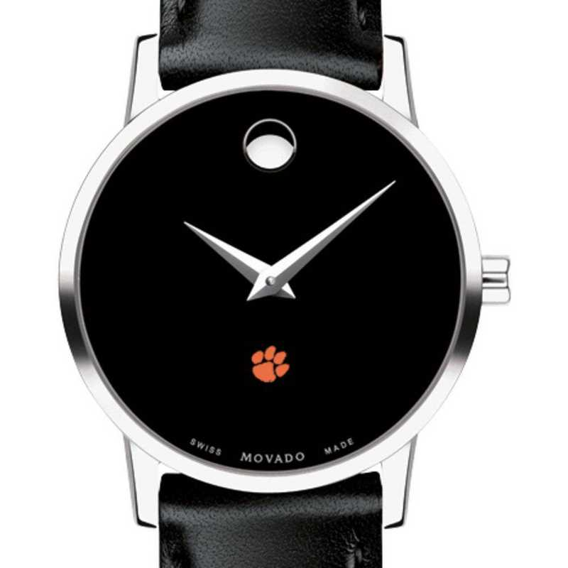615789611196: Clemson Women's Movado Museum w/ Leather Strap