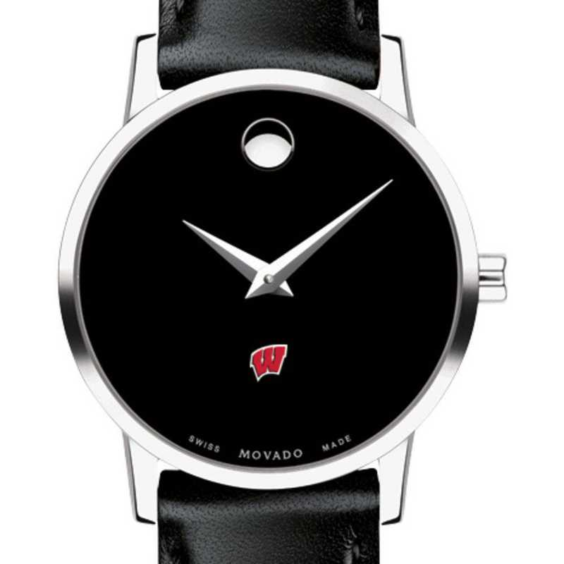 615789614333: Uni of Wisconsin Women's Movado Museum with Leather Strap