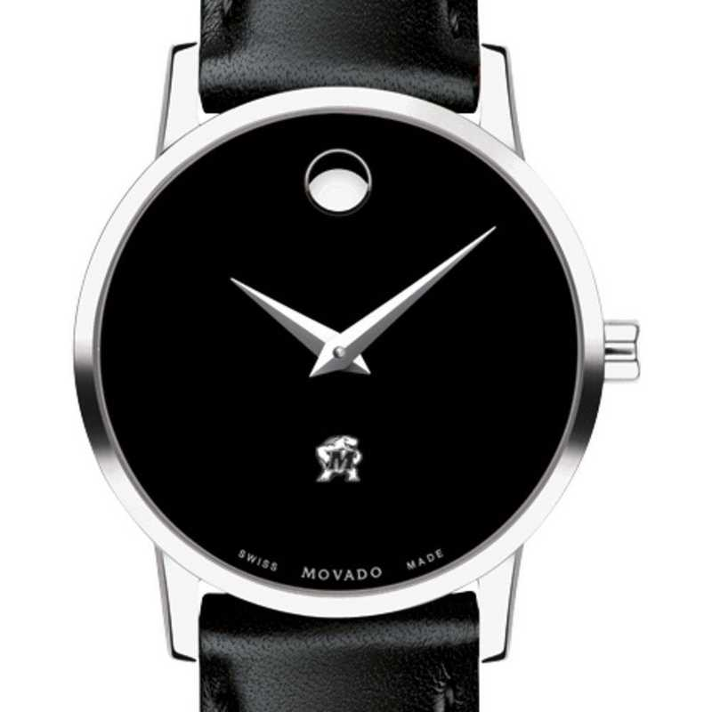 615789654179: Univ of Maryland Women's Movado Museum with Leather Strap