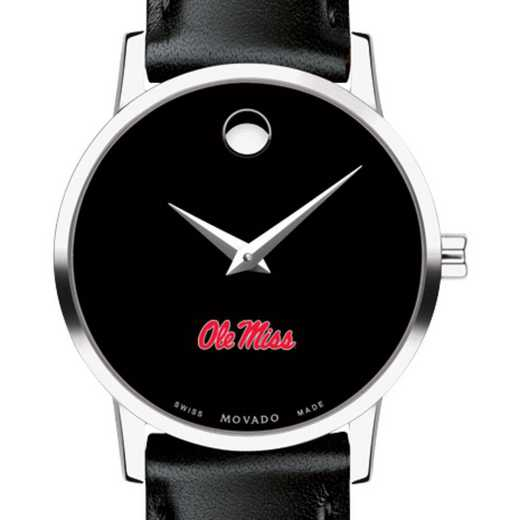 615789723738: U of Mississippi Women's Movado Museum w Leather Strap