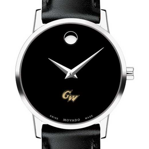 615789739609: George Washington Univ Women's Movado Museum w/Leather Strap