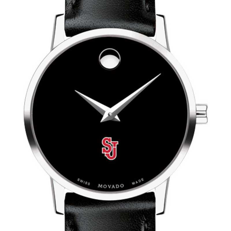 615789751533: St. John's Univer Women's Movado Museum with Leather Strap