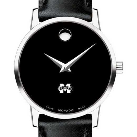 615789788829: Mississippi State Women's Movado Museum with Leather Strap