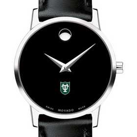 615789874201: Tulane Univ Women's Movado Museum with Leather Strap
