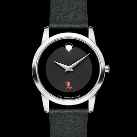 615789888314: Uni of Louisville Women's Movado Museum with Leather Strap
